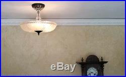 430b Vintage 40s art deco Glass Ceiling Light Lamp Fixture chandelier antique