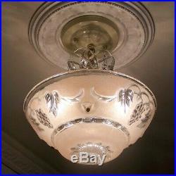 473 Vintage antique Glass Ceiling Light Lamp Fixture Chandelier art deco pink