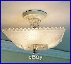 551p Vintage Hobnail 40s art deco Glass Ceiling Light Lamp antique white