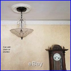 556b Vintage antique arT DEco Ceiling Light Lamp Fixture Chandelier beige