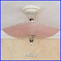 560p Vintage Hobnail 40s art deco Glass Ceiling Light Lamp antique pink