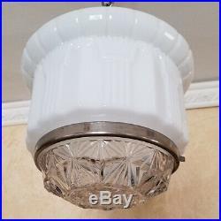 569b Vintage Antique arT Deco Ceiling Light Lamp Chrome Fixture Glass Hall Bath