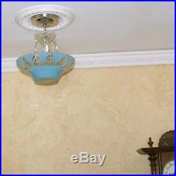 597 Vintage antique aRT DEco Ceiling Light Lamp Fixture Glass Chandelier blue