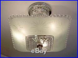 633 Vintage Hobnail 40s art deco Glass Ceiling Light Lamp jadeite green antique