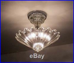 654 Vintage arT Deco Ceiling Light Lamp Fixture Glass Starburst