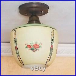 686b Vintage aRT Deco Glass Ceiling Light Lamp Fixture antique kitchen porch