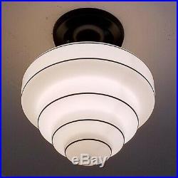 714b Vintage aRt DEco Ceiling Light Glass Lamp Fixture Kitchen Hall Porch Bath