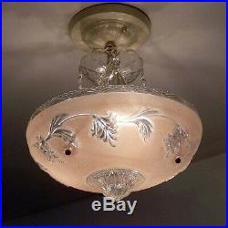 719 Vintage antique Glass Ceiling Light Lamp Fixture Chandelier art deco pink