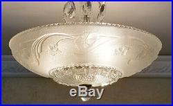 762b Vintage 40s art deco Glass Ceiling Light Lamp Fixture chandelier antique