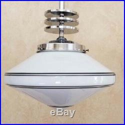 770 Vintage aRT DEco Ceiling Lamp Light Fixture glass shade chrome pendant nice