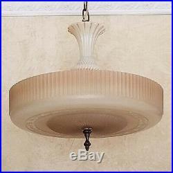 775b Vintage Antique arT DEco Ceiling Light Glass Lamp Fixture Chandelier