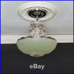 78b Vintage antique arT Deco Glass Ceiling Light Lamp Fixture Jadeite Chandelier