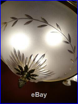 7 Light Classic Art Nouveau Lamp Chandelier Shiny Brass Antique Lustre Glass