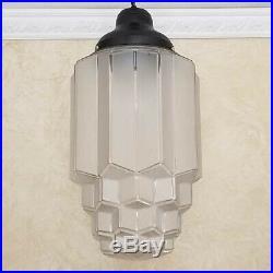 818b 40's aRT DEco CEILING LIGHT lamp fixture glass shade pendant Skyscraper