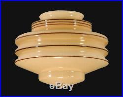 8 Diameter Art Deco NU GOLD Tint Glass Lamp Shade 4 Fitter