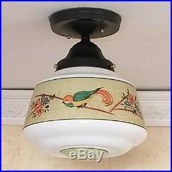 936 Vintage 40s aRT Deco Glass Ceiling Light Lamp Fixture antique porch bird