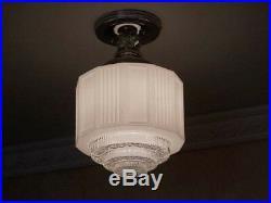 956 Vintage Antique 30s 40s aRT Deco Ceiling Light Lamp Fixture bath kitchen