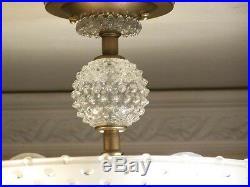 987 Vintage Hobnail Ceiling Lamp Light Fixture chandelier art deco 1 of 2