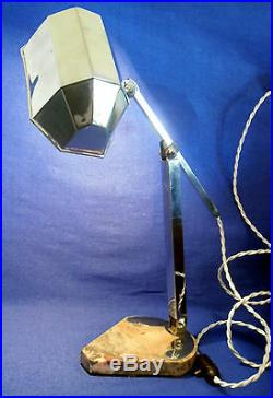 ANCIENNE LAMPE DE BUREAU SOCLE MARBRE EPOQUE ART DECO SIGNEE Artisanat Français