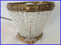 ANTIQUE ART DECO CZECH BEADED GLASS LAMP/LIGHT with FRUIT BERRIES & WALNUTS SHADE