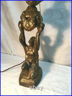 ANTIQUE ART DECO LADY FIGURE HOLDING UP LIGHT POT METAL DESK TABLE LAMP 1930s