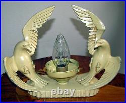 ANTIQUE ART DECO METAL FIGURAL RADIO LAMP GLASS SHADE CHANDELIER FIXTURE 1930's