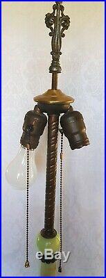 ANTIQUE ART DECO SLAG GLASS LAMP BASE With JADEITE GLASS INSERT MARKED B11 35