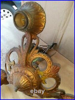 ANTIQUE ART DECO VICTORIAN 3 LIGHT CEILING FIXTURE Lamp Hanging Cast Chandelier