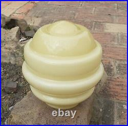 ART DECO 1940´s CREAM FROSTED GLASS LAMP SHADES PENDANT LIGHT