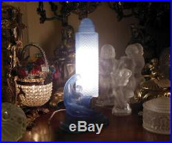 ART DECO Blue Glass Nude Lady LAMP 11 1/4 SKYSCRAPER