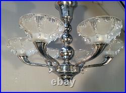 ART DECO Deckenlampe CHROM 6 sign. EZAN-Schalen Jugendstil1920 Lampe antik