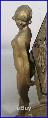 ART DECO Double Nude Lady Heavy Cast Metal Table Lamp Shade NUART FRANKART era