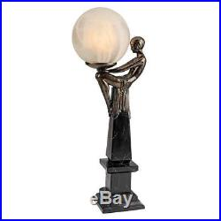 ART DECO FLAPPER DANCER LAMP SCULPTURE Lady Statue Frost Globe Illuminated Orb