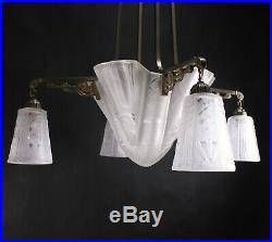 ART DECO Hängelampe ceiling lamp Deckenlampe Muller Freres Luneville