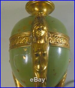 ART DECO Lamp EGYPTIAN Revival Sphinx Nude Gilt Bronze Urn EMPIRE Ormolu Gold
