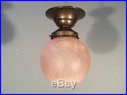 ART DECO Lampe 1910/20 Eisglas-Kugel Ø15 MESSING Jugendstil Flurlampe -Antik