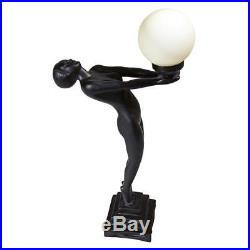 ART DECO NUDE LADY GODDESS LAMP SCULPTURE Female Statue Illuminated Globe Orb
