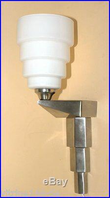 ART DECO Wandlampe Designleuchte Halter SilberMessing vernickelt+Opalglas
