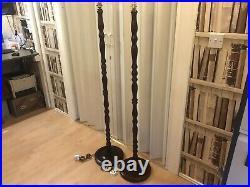 A Matching Pair Unique Bobbin Style Floor Standard Lamp Art Deco Bobbin Column