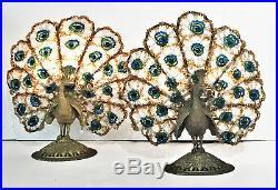 A Pair of Art Deco Bronze & Bohemian Crystal Peacock Nightstand Lamps, Ca. 1920s