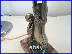 Alexandre Kelety Art Deco Lampe Sculptur Les Enfants Frankreich um 1925/30
