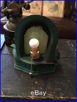 Amazing Antique Art Deco Partially Nude Lady Night Light Table Lamp Spelter