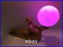 Amazing Vintage Art Deco Woman Lamp Chandler I Nymph Nude Lady with USB LED Moon