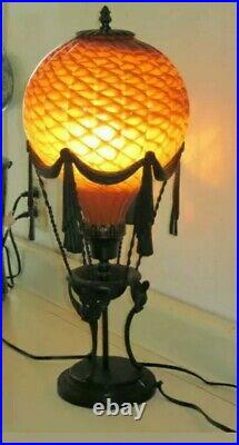 Amber Glass Iron Hot Air Balloon Lamp Art Deco Style Steampunk 24 Tall RARE