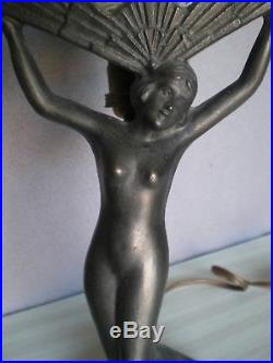 Ancien paire de lampe statue femme nue art deco antique lamp figurine nude woman