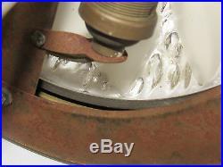 Ancienne Lampe Suspension Art Déco Verre Presse Dégagé A L'acide Signe Ezan