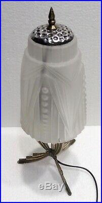 Ancienne petite LAMPE champignon art déco pied laiton tulipe pâte de verre