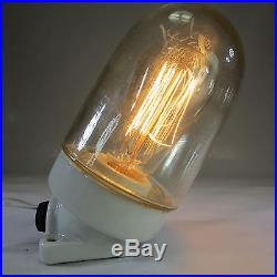 Antik Bauhaus Keramiksockel Glaskolbenlampe Art Deco Fabriklampe XXL Wandlampe