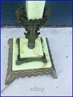 Antique 1920's Art Deco Era Houze Houzex Jadeite Jadite Slag Bridge Lamp