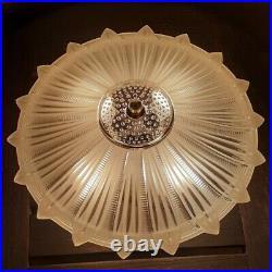 Antique 1920s-30s Art Deco Sunflower Ceiling Light/Lamp Fixture, Semi Flush
